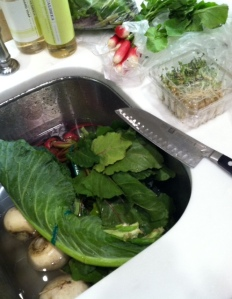 Veggies go in the SINK first!